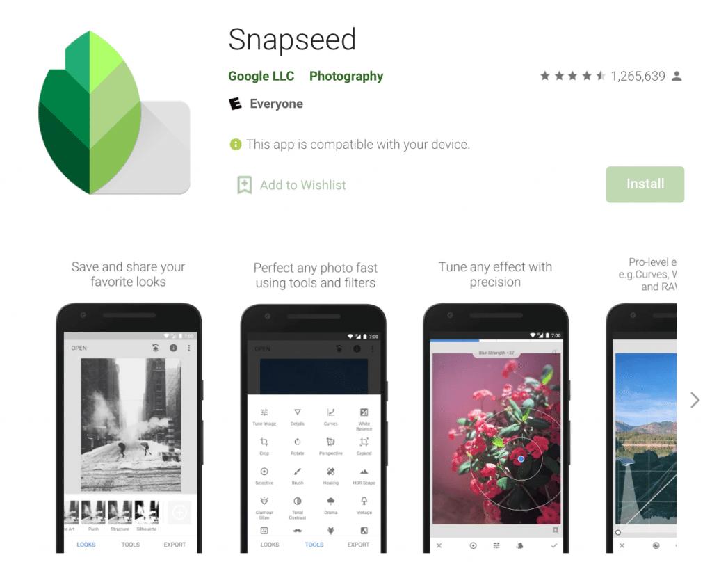 aplikasi tambahan untuk edit foto desain feed Instagram Snapseed