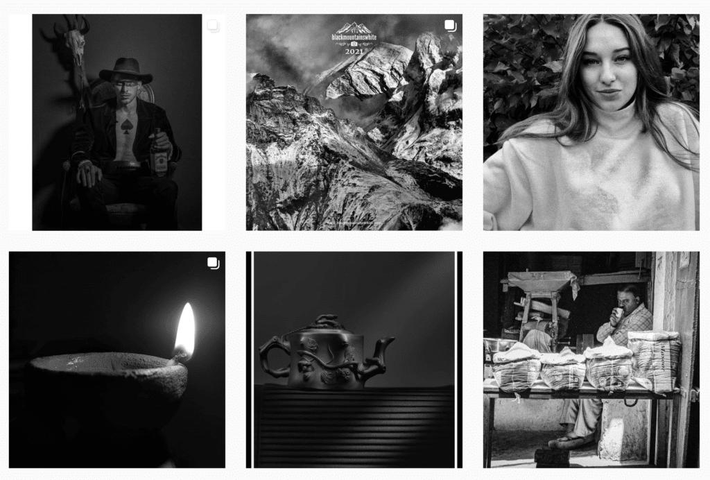 tema desain monochrome untuk desain feed Instagram